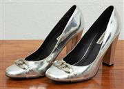 Sale 9066H - Lot 94 - A pair of Steve Madden silver patent block heels with chain buckle design to front, Size 9M