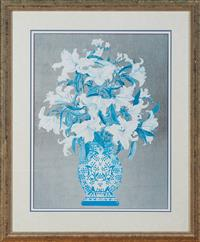 Sale 9080H - Lot 58 - A print of lilies in a vase together with another print of quinces
