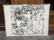 Sale 9091 - Lot 2072 - Felix Srecko-Radman Abstract faces, 1986, ink on paper, frame: 57 x 77 cm, signed and dated lower right -