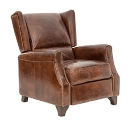 Sale 9180F - Lot 34 - An original aged leather vintage wingback recliner with brass stud trim. W 82cm D 92cm H 101cm