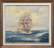 Sale 8297 - Lot 554 - John Charles Allcot (1888 - 1973) - Tall Ship On Rough Seas 51 x 60.5cm