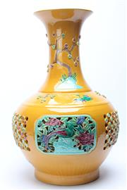 Sale 8732W - Lot 71 - Yellow Yuhuchun ping Chinese Vase Decorated With Birds And Flowers H:53cm