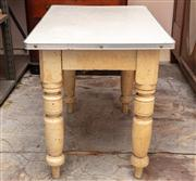 Sale 8804A - Lot 199 - An Edwardian painted table with later laminate top, on four turned legs, H 75 x W 98 x D 64cm