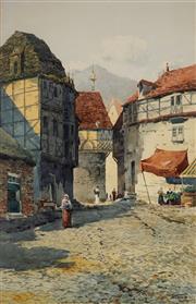 Sale 9001 - Lot 545 - Henri Tebbit (1852 - 1927) - Village Market, Rouen, c 1880s 62.5 x 40 cm (frame: 87 x 63 x 3 cm)