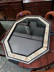 Sale 9031 - Lot 1039 - (Anthony) Redmile of London Octagonal Mirror, the frame with bone or antler within ebonised bands & steel main frame (impressed labe...