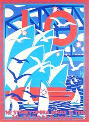 Sale 9087 - Lot 2075 - Martin Sharp (1942 - 2013) The Sydney Opera House is Ten screenprint 68 x 51cm (unframed) unsigned -