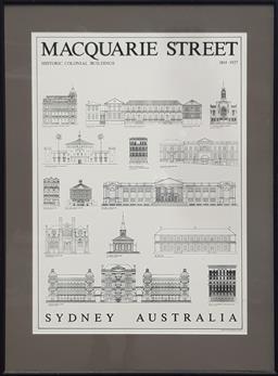 Sale 9112 - Lot 1061 - Framed Macquarie street buildings sign (90x67cm)
