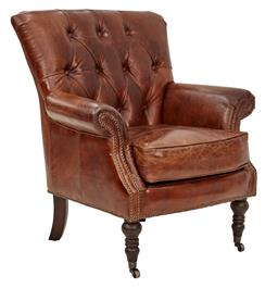 Sale 9180F - Lot 35 - A Hand Aged Full Grain Leather Button Tuffed Back Armchair with Brass Stud Detailing, front castors and rolled arms. Feather foam se...