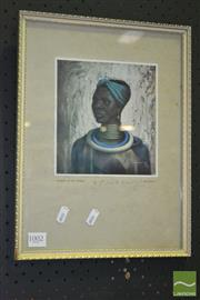 Sale 8287 - Lot 1002 - Tretchikoff Framed Print Woman of the Ndebele and Another Zulu Girl