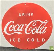 Sale 8435 - Lot 1043 - Enamel Coca Cola Ice Cold Sign 36cm Dia