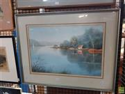 Sale 8619 - Lot 2084 - R. Renfrew - Lake House watercolour,53 x 68cm, signed lower right