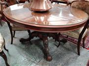 Sale 8728 - Lot 1061 - Victorian Burr Walnut Loo Table, the oval top on birdcage base with putswept legs