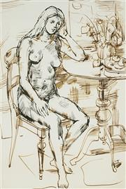 Sale 8901A - Lot 5090 - Wallace Thornton (1915 - 1991) - Seated Nude 36 x 23.5 cm