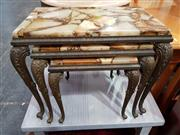 Sale 8934 - Lot 1089 - Brass Nest of Three Tables with Travertine Top