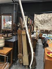 Sale 9039 - Lot 1007 - Set of 3 Edwardian Teak Mule Posts and assorted bannisters (H: 251cm)