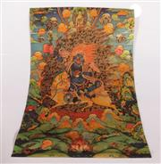 Sale 9070 - Lot 21 - Unframed Thangka Featuring Deities (Some Staining) ( 89cm x 57cm)