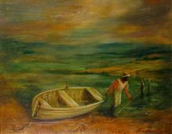 Sale 9093A - Lot 5016 - Wesley Penberthy (1920 - 2017) - The Fisherman, 1983 39 x 49 cm (frame: 73 x 82 x 4 cm)