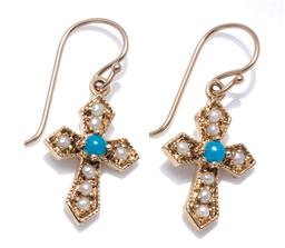 Sale 9115 - Lot 356 - A PAIR OF STONE SET CRUCIFORM EARRINGS; set in 9ct gold with seed pearls and blue stones on shepherds hook fittings, length 22mm, wt...