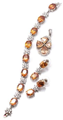 Sale 9149 - Lot 329 - SILVER STONE SET BRACELET AND EARRINGS SUITE WITH MATCHED PENDANT; all set with orange and white zirconias, 9mm wide bracelet to int...