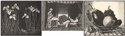 Sale 9212A - Lot 5063 - LIONEL LINDSAY (1874 - 1961) (3 works) Flag Lillies, Morning Tea, Melon & Aubergine bookplates 10.5 x 12 (2), 7 x 9.5 cm (frame: 20 ...