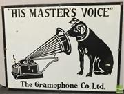 Sale 8435 - Lot 1073 - Enamel The Gramophone Co. Ltd. His Masters Voice Sign 61.x 46cm (White Background)