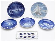 Sale 8590A - Lot 57 - A small group of Scandinavian ceramic wares including Royal Copenhagen, Porsgrund, Bing & Grondahl calendar plates and Sargdlos pin...