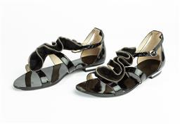 Sale 9092F - Lot 43 - A PAIR OF MAGNINI SLINGBACK SANDALS, in black patent leather with suede ruching, size 37
