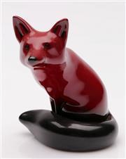 Sale 9052 - Lot 32 - Royal Doulton Flambé fox figure (H11cm)
