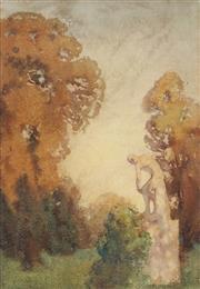 Sale 9067 - Lot 565 - Lionel Lindsay (1874 - 1961) - Statue of Apollo in a Garden 33 x 23 cm (frame: 50 x 49 x 2 cm)