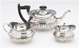 Sale 9245R - Lot 64 - An antique English silverplate Batchelors teaset, Sheffield C: 1900, comprising teapot, milk jug and sugar bowl, each piece with ha...