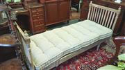 Sale 8402 - Lot 1099 - Louis XVI Style White Washed Day Bed. Slatted Ends with Finials and a Loose Linen Buttoned Cushion