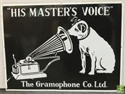 Sale 8435 - Lot 1006 - Enamel The Gramophone Co. Ltd. His Masters Voice Sign 61.x 46cm (Black Background)