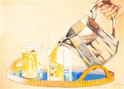 Sale 8770A - Lot 73 - Artist unknown (Wecsott?) - Spritz Time, gouache, 40.5 x 51cm, signed lower right