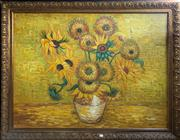 Sale 8759 - Lot 2005 - Rossitini - Sunflowers acrylic on canvas, 109 x 140cm (frame) signed lower right