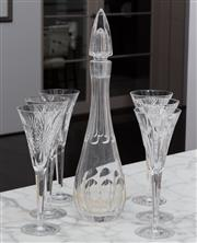 Sale 8782A - Lot 91 - A Crystal faceted and stoppered decanter height 43cm and a set of six Wedgwood millennial wealth and happiness toasting glasses.