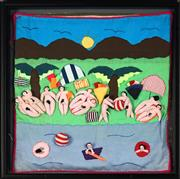 Sale 8822A - Lot 5059 - Artist Unknown (Latin America) - The Beach, 1970s 49.5 x 49.5cm