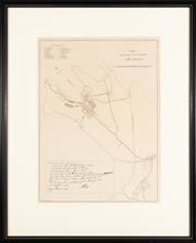 Sale 8871H - Lot 100 - Print of A Survey of The Settlement in New South Wales - New Holland with facsimile note from Governor Phillip, frame size: 53 x 43cm