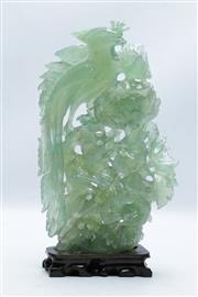 Sale 8869 - Lot 11 - A Green Stone Figural Group Featuring Flowers and Birds (H 31cm) (a.f)