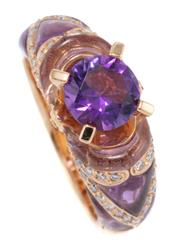 Sale 8937 - Lot 383 - AN 18CT GOLD DIAMOND AND GEMSTONE RING; centring an approx. 1.20ct round cut amethyst to shield shape shoulders and gallery set with...