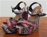 Sale 9066H - Lot 96 - A pair of Steve Madden wedges in bright geometric patterns, Size 9M
