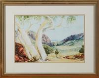 Sale 9080H - Lot 56 - B Webster, Ghost Gums, Watercolour SLR 33cm x 49cm