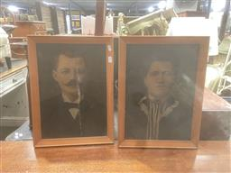 Sale 9106 - Lot 2039 - Pair of Antique Portraits with hand-colouring (AF) 48 x 36cm