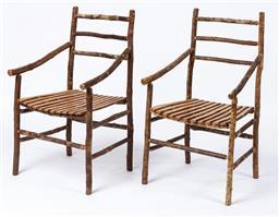 Sale 9130S - Lot 46 - A set of four horizontal scrub timber (Anodopetalum Biglandulosum) bar back chairs by David Ralph, 1997, Tasmania. Height of back 93...