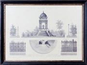 Sale 8341A - Lot 14 - An antique style French architectural print, Fontaine des Innocents & Clotures de Squares, 56 x 76cm including frame