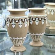 Sale 8336 - Lot 80 - Doulton Lambeth Silicon Ware Pair of Stoneware Vases (1 Chipped To Base)