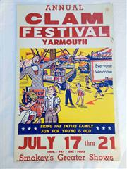 Sale 8579 - Lot 15 - A vintage C1950s Carnival Clam festival poster with some staple holes and marks, H 56 x W 36cm
