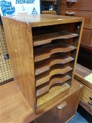 Sale 8705 - Lot 1065 - Vintage Multi Tier Desk Top Filing Cabinet ( H 60cm x D 37cm x W 35cm)