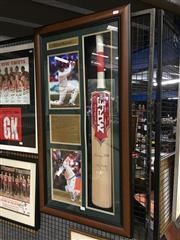 Sale 8750 - Lot 2085 - Framed & Signed Steve Waugh Cricket Bat & Ephemera