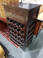 Sale 8826 - Lot 1071 - Timber Shelving Unit with Wine Rack (H: 98.5 W: 56 D: 37.5cm)