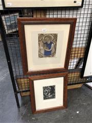 Sale 8861 - Lot 2060 - Gwyneth Tilley (2 works) Icon; Guard Duty woodcut;etching, 40 x 35;37 x 32cm (frames), signed -